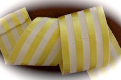 "French Striped Ribbon - 3"" x 1 yard Yellow Stripes - 49 Rayon / 51% Cotton - Vintage - Made in France - Limited"