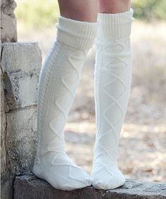 Look at this Cream Cable-Knit Over-the-Knee Socks - Women on #zulily today!