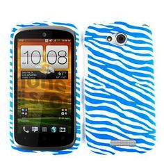 Cellphone Case Cover for HTC ONE VX (Faceplate Hard Plastic Zebra/Blue/White) - HTCONEVX-SNAP-TE537