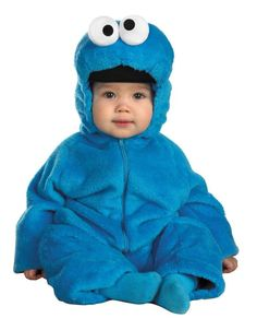 #6598 Give me cookies! The Cookie Monster Costume is perfect for any toddler this Halloween. The Cookie Monster Costume includes a double-sided plush, blue body suit with character hood attached. Incl