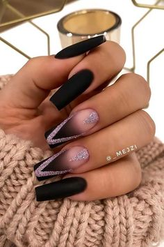 15 Trendy Black Acrylic Nails You Need To Try Black Ombre Nails, Black Nails With Glitter, Black Acrylic Nails, Matte Black Nails, Best Acrylic Nails, Pink Glitter, Black Manicure, Long Black Nails, Short Nails