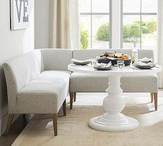 With its sink-in cushioned seat and back, the Modular Upholstered Banquette provides the utmost comfort in a breakfast nook or corner of your dining space. It's built with a solid-wood frame for long-lasting style, and it's available in y Corner Banquette, Banquette Seating In Kitchen, Corner Bench Kitchen Table, Corner Bench Dining Table, Dining Bench With Back, Booth Seating In Kitchen, Dining Room Bench Seating, Sofa In Kitchen, Dining Booth