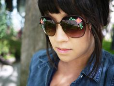 DIY Embroidered Sunglasses by honestlywtf #DIY #Sunglasses #Cross_Stitch