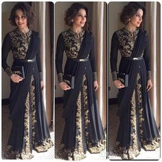 2016 Black Arabic Evening Dresses Crew Long Sleeves Floor-Length Appliqued  Musilm Dubai Formal Dress Ruffles Afghan Celebrity Party Gowns 5ef17a4e6498