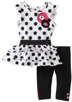 Young Hearts Baby-Girls Infant Dotted Long Tunic With Legging Set, Black, 12 Months $22.40