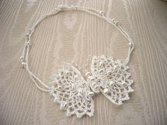 Hand Crochet Beaded White Cotton Necklace Choker by CraftsbySigita