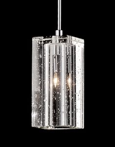 401042 - Single Lamp Rectangular Pendant with Crystal Encased Bubbles