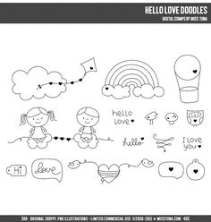 Hello Love Doodles Digital Stamps Clipart Clip Art Illustrations - instant download - limited commercial use ok on Etsy, $4.50