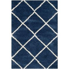 Hudson Shag Navy/Ivory (Blue/Ivory) 5 ft. 1 in. x 7 ft. 6 in. Area Rug