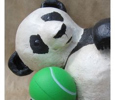 Make a Playful Paper Mache Baby Panda Bear Paper Mache Crafts For Kids, Paper Mache Projects, Paper Crafts, Baby Panda Bears, Creative Box, Deco, Random, Deko, Papercraft