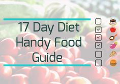 17 Day Diet handy food guide.... Lose weight the healthy way. Eat clean, low sugar, low carb, clean eating diet.