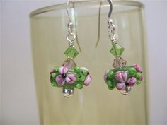 Pink Floral Lampwork Earrings by joanne79 on Etsy, $21.00
