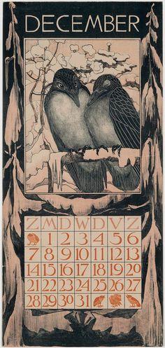 Two Crows on a Snowy Branch (1902 Calendar: December)  1902  Theodorus van Hoytema, Dutch, 1863–1917 Dutch