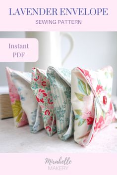 Instant PDF sewing pattern download to make these sweet lavender sachet envelopes ~ Mirabelle Makery #lavenderideas #sewingprojects #lavendersachets #beginnersewing #pdfpattern