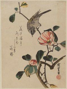 Utagawa Hiroshige Bird on Camellia Branch Edo period