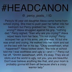 I would not want to be the bully's at that school... Annabeth got angry enough at Percy for small things (you know, like almost dying a couple hundred times) if you mess with her kids? Yikes.