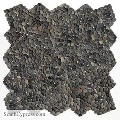 Solistone Decorative Pebbles Random Sized Natural Stone Pebble Tile in Barbados Black Best Floor Tiles, Wall And Floor Tiles, Wall Tiles, Pebble Stone Flooring, Pebble Floor, Barbados, Natural Stone Wall, Natural Stones, Outdoor Tiles