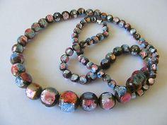 Vintage Art Deco Venetian Rainbow Foil Glass Bead Necklace | eBay