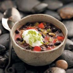 """Contest-Winning Black Bean Soup Recipe -""""This is an awesome soup that is light and it doesn't contain meat. You could add lean beef or chicken for a variation of this soup."""" Angee Owens - Lufkin, Texas Canned Black Beans, Lufkin Texas, Bean Recipes, Ww Recipes, Diabetic Recipes, Vegetarian Recipes, Cooking Recipes, Refried Beans, Beans Beans"""