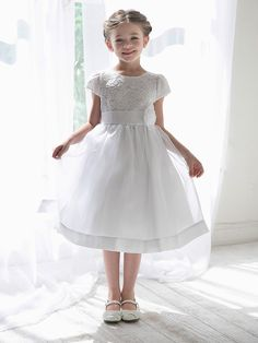 White Girls Floral Lace Bodice Organza Dress