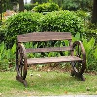 IKayaa 2 Seater Outdoor Wood Bench W/ Backrest Rustic Wagon Wheel Style  Patio Garden Furniture