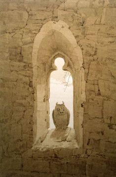Owl in a Gothic Window by Caspar David Friedrich - Drawings from Hermitage Museum Caspar David Friedrich, C D Friedrich, Casper David, Gothic Windows, Church Windows, Hermitage Museum, Through The Window, Owl Art, Art Graphique