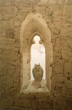 Owl in a Gothic Window, 1836 / Caspar David Friedrich