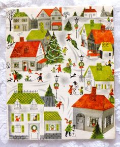 vintage 50's Christmas card ▲ It's Beginning to look a lot like Christmas ♫~ ♪`~ ♫ everywhere you go ♫~ ♪`~ ♫