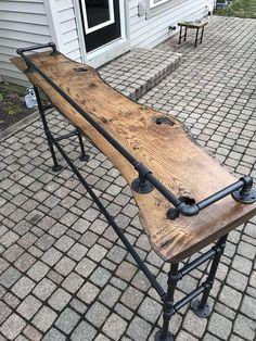 Live Edge Oak Sofa Bar Table #sofatablebar