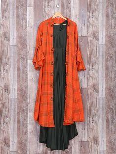 Shop Plain orange grey kurti in silk fabric online from India. Plain Kurti Designs, Simple Kurti Designs, Kurti Neck Designs, Blouse Designs, Kurti With Jacket, Silk Fabric Online, Colour Combinations Fashion, Mother Daughter Matching Outfits, Silk Kurti