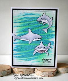 Shark Week   Happy Birthday Shark Card by Jess Gerstner   Shark Bites Stamp set by Newton's Nook Designs