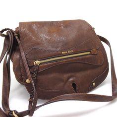 230.00$  Buy here - http://virst.justgood.pw/vig/item.php?t=mk8fhl14644 - AUTHENTIC MIUMIU Leather Shoulder Bag Brown RT0311