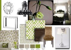 Bedroom inspired by fresh greens, offset by neutrals and opulant chandeliers and mirror