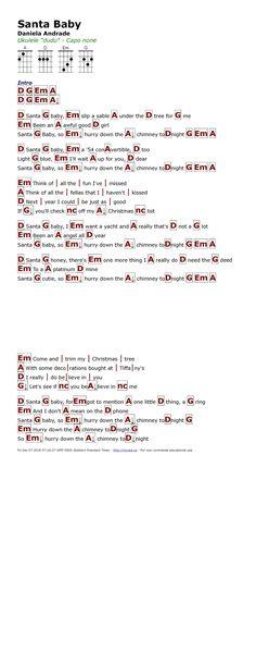 I like the way Eartha Kitt sings this song. Ukulele Chords Songs, Ukulele Tabs, Guitar Songs, Baby Lyrics, Music Lyrics, Ukulele Songs Christmas, Music Sheets, Sheet Music, Santa Baby Song