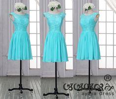 Lace Short Bridesmaid Dress  blue  bridesmaid by ayayadress