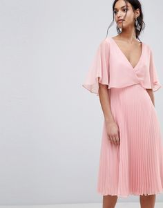 ASOS Midi Dress with Pleat Skirt and Flutter Sleeve - Pink Jupe Plissée,  Tenue Mariage a69af8ff17fb
