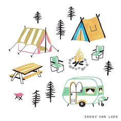 A little campsite for The Big Book of Drawing by Flow Magazine - Sanny van Loon Cute Illustration, Digital Illustration, Flow Magazine, Baby Art, Drawing Lessons, Graphic, Love Art, New Baby Products, Art Drawings