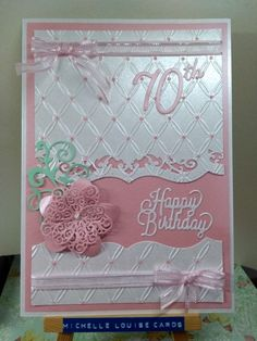 70th birthday card using Tied Together embossing folder