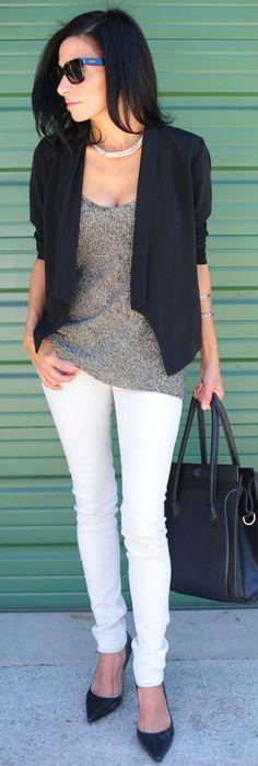 Silver Metallic Knit Jersey white jeans and black bolero sweater