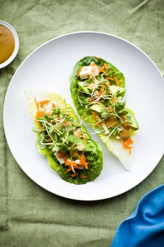 Tofu lettuce wraps with cashew sauce.