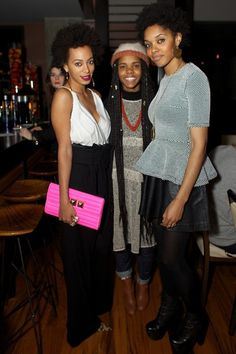 culturaltoast:    Solange with Nigerian fashion designers Izzy Okpo and Darlene Okpoof William Okpo last month in New York City at the Ciroc Private dinner bash.  getty