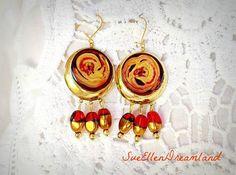 enamel drop earringsdangle earringsglamourous handmade Boho Earrings, Boho Jewelry, Drop Earrings, Unique Jewelry, Jewellery, Recycled Jewelry, Handmade Items, Handmade Gifts, Classy Women