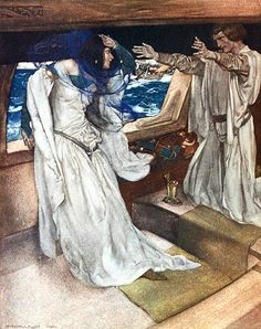 """Thus it happed the love first betwixt Sir Tristram and La Beale Isoud ... """"Le morte d'Arthur"""" (1910-11) illustrated by William Russell Flint"""