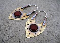 Shield of Light Earrings with Carnelian by SilviasCreations