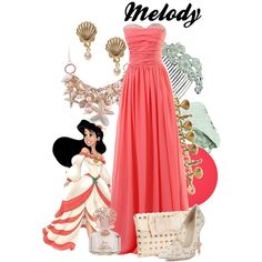 Disney Bound: Melody from The Little Mermaid II; Disney Prom Dresses, Disney Princess Outfits, Disney Dress Up, Disney Themed Outfits, Little Mermaid 2, Mermaid Melody, Disneybound Outfits, Disney Inspired Fashion, Disney Fashion