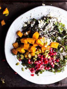 STYLECASTER | Winter Salads | Winter Salad Recipes | Harvest Kale Salad with Squash, Pomegranate, Feta, and Maple-Dijon Vinaigrette