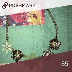 chunky necklace! so so cute and so dainty! goes with anything! gold and mint green flowers with diamond detailing! perfect for spring and summer! Jewelry Necklaces