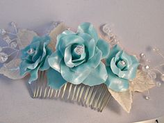 Floral hair comb wedding , Blue rose with crystals bridal headpiece ~ Unique hair piece for prom, cocktail ~ Handcrafted hair accessories by RitzyFlowers on Etsy