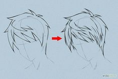 Draw Hair - How to Draw Anime Hair. This tutorial will show you how to draw male and female anime hair. Anime hair is what makes anime heroes unique and beautiful – as with real humans, it's the crowning beauty. Draw an outline of the h. Guy Drawing, Manga Drawing, Drawing People, Drawing Tips, Drawing Sketches, Sketching, Gesture Drawing, Drawing Faces, Anime Hair Drawing