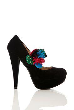 Colourful Flower Strap Velour Shoes